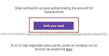 correo de verificacion de twitch