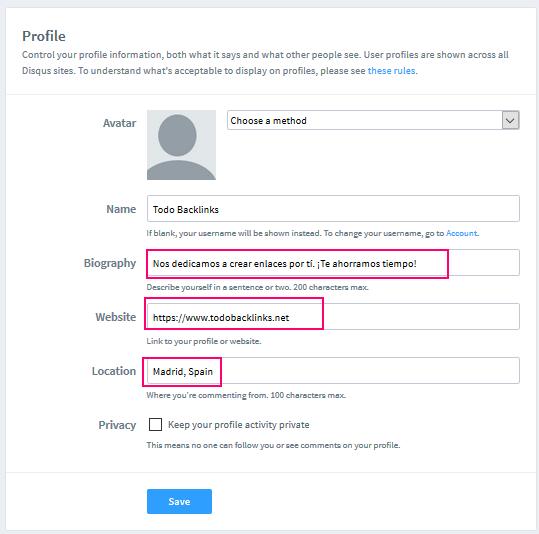 perfil para introducir el enlace en disqus