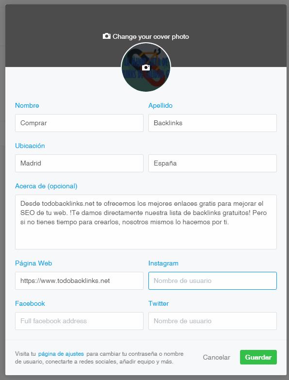 ejemplo de perfil completo en 500px