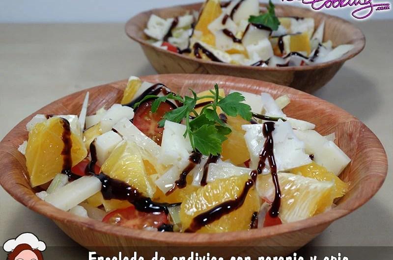 Ensalada de endivias, naranja y apio