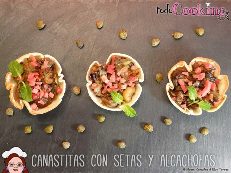 Canastitas con setas y alcachofas