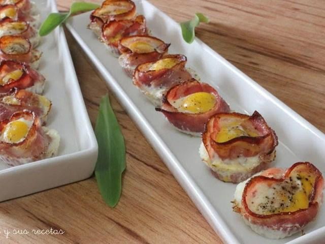 Tartaletas de bacon y huevo