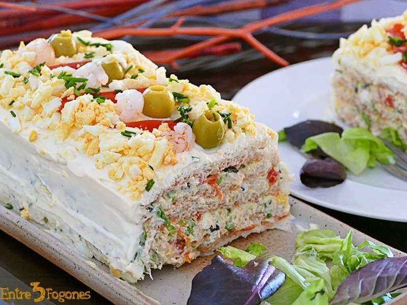 recetas fáciles de entrantes y primeros - pastel frío de marisco