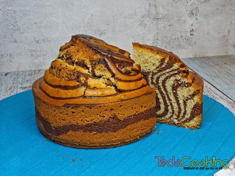 Bizcocho Cebra de chocolate y vainilla 01