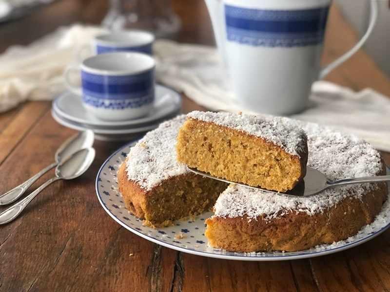 Bizcocho-de-avena-calabaza-coco. recetas de postres saludables sin azúcar