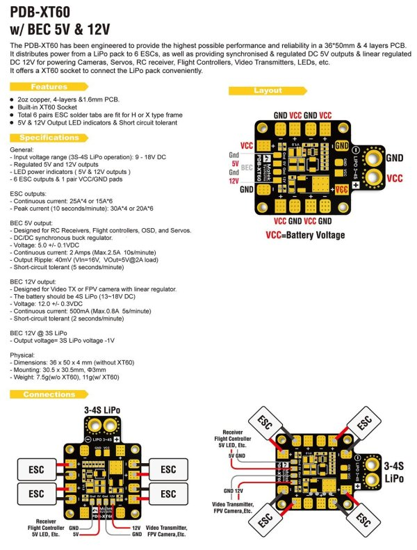 PDB XT60 Matek Power Distribution Board (235)