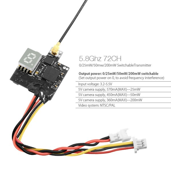 Eachine VTX03 Super Mini 5.8G 72CH 0/25 mW/50 mw/200 mW (508)