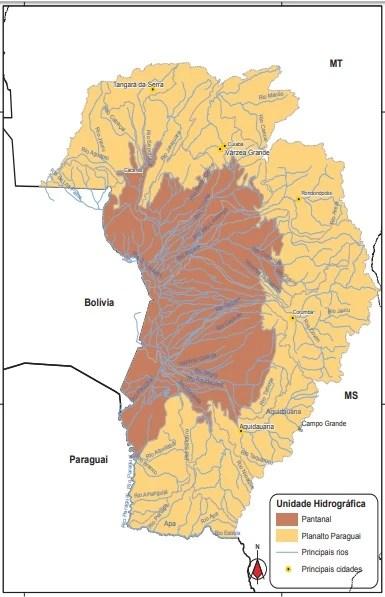 mapa de la cuenca del paraguay
