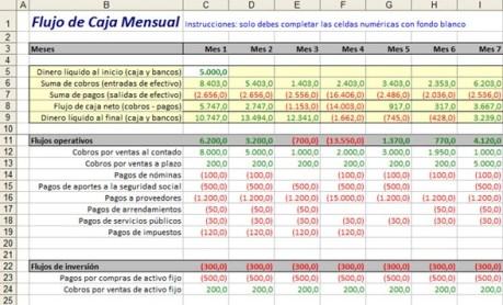 Flujo de caja cash flow excel captura flujo de caja mensual excel ccuart Choice Image