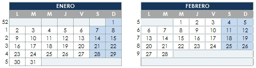 Calendario Excel 2017