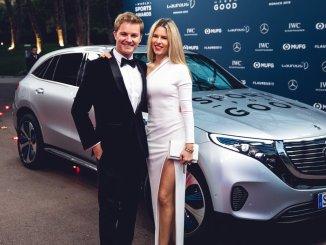 Nico Rosberg, junto a su pareja en los premios Laureus
