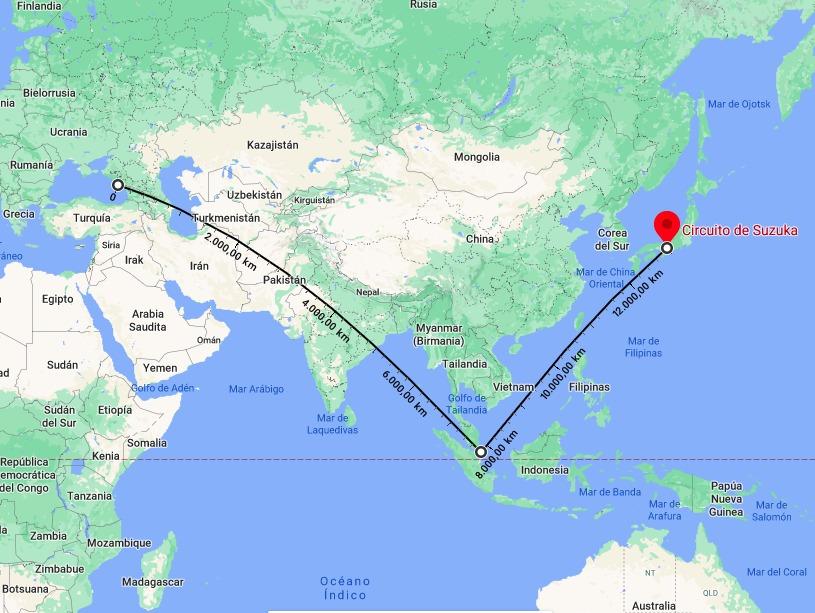 Recorrido de 13.000 kilómetros para las carreras de Sochi, Singapur y Suzuka