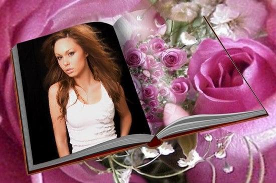 Fotomontaje De Libro Y Rosas