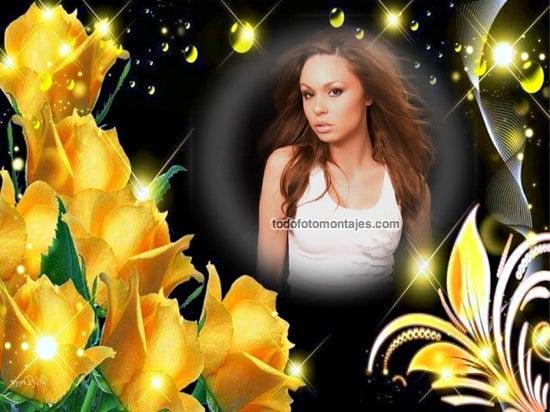 Delicado Fotomontaje De Rosas Amarillas