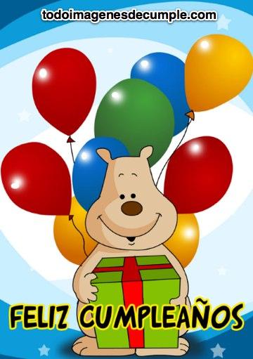 imagenes de cumpleaños con osito y globos