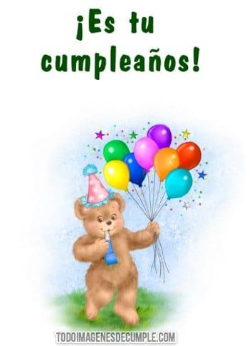 imagenes de feliz cumpleaños con globo y osito