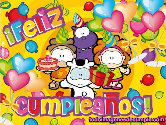 imagenes de feliz cumpleaños con muñequitos y globos