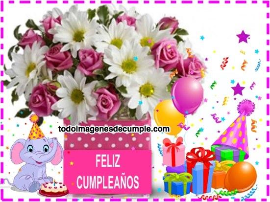 imágenes de feliz cumpleaños con flores, regalitos y dibujitos