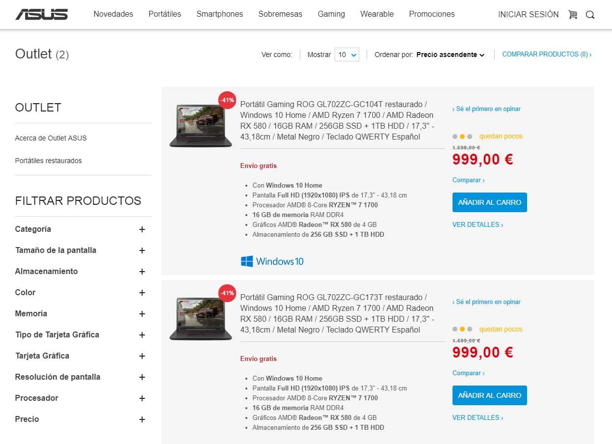 Outlet online de Asus
