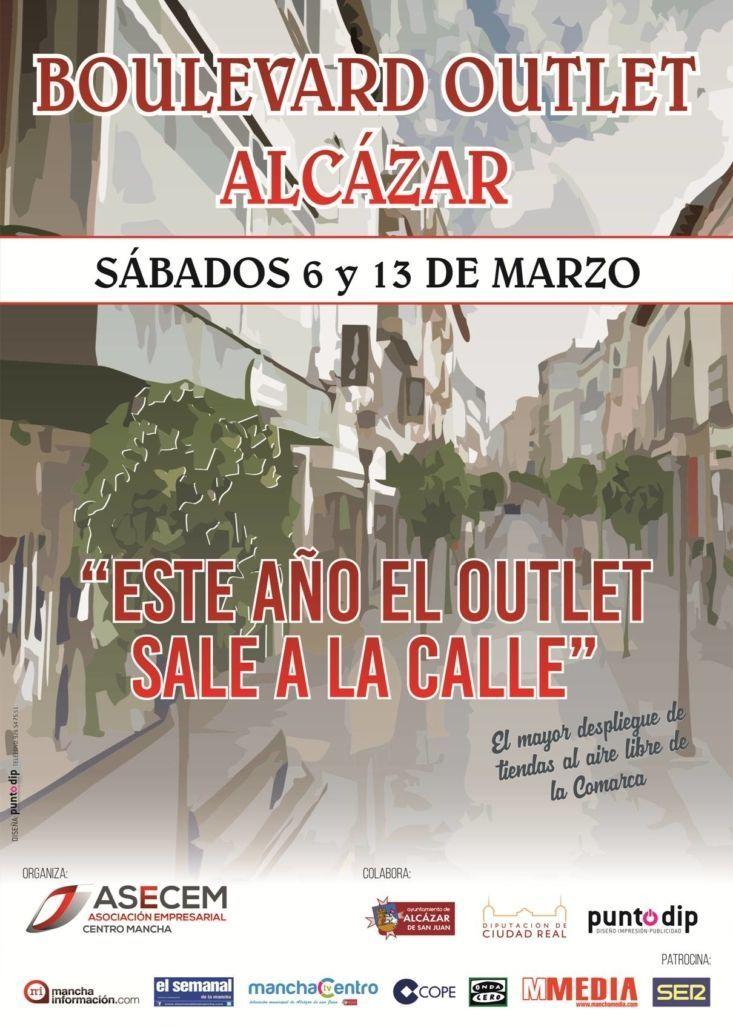 Cartel del outlet de Alcázar de San Juan