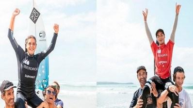 Iker Amatriaín y Janire González-Etxabarri , nuevos campeones de España absolutos de surf 2019