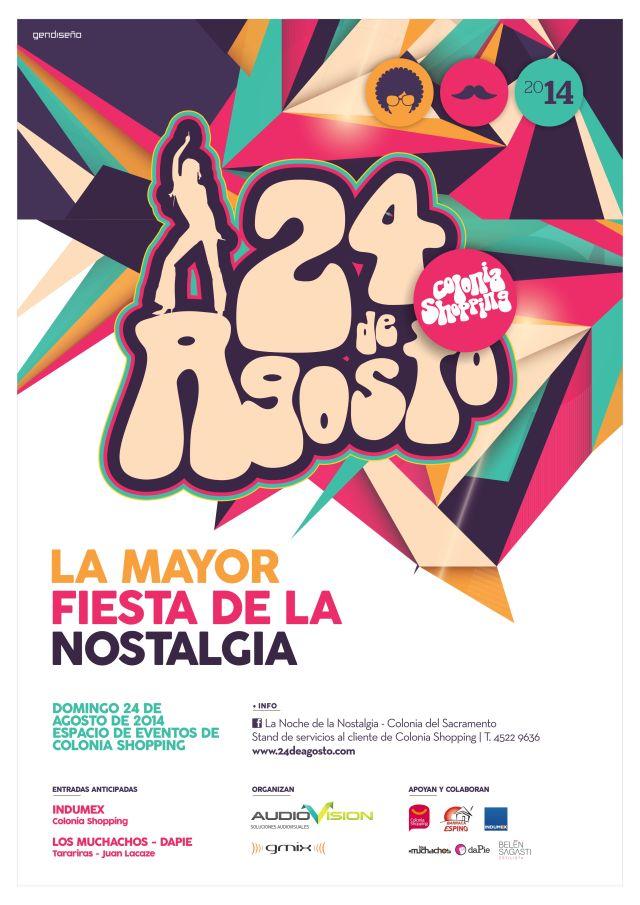 Afiche publicitario para la Noche de la Nostalgia en Colonia Shopping