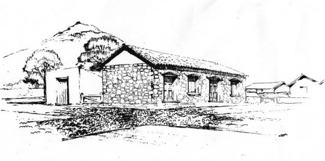 Dibujo de la casa de Montevideo donde nació Artigas