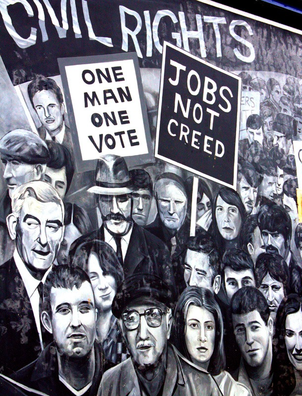 A mural dedicated to the violent 1968 March of the Civil Rights, that campained against discrimination in housing and the shortage of social housing in Derry, and later erupted into the infamous Battle of the Bogside - a three day riot between residents and police.