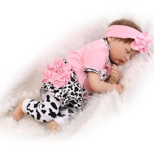 22″ Mini Cute Simulation Sleeping Baby In Cow Pattern Clothes Pink