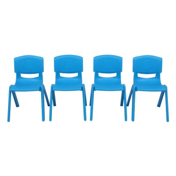 4-Piece Plastic Folding Chair With Backrest Light Blue