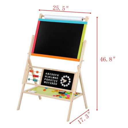 All-in-One Wooden Kid's Art Education Easel with Accessories