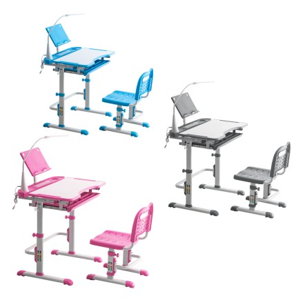 Student Desks and Chairs Set with Light White Lacquered White Surface and Light Gray Plastic