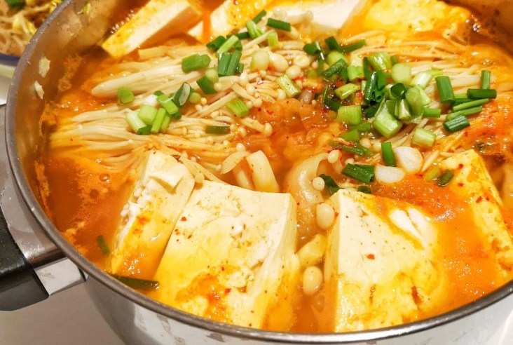 Close up of the mandu and kimchi stew recipe