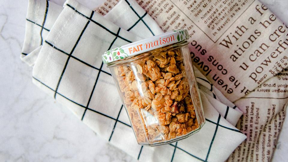 Homemade vegan granola close up jar
