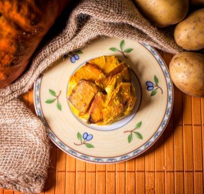 Kartoffel Kürbis Auflauf mit Kokosmilch