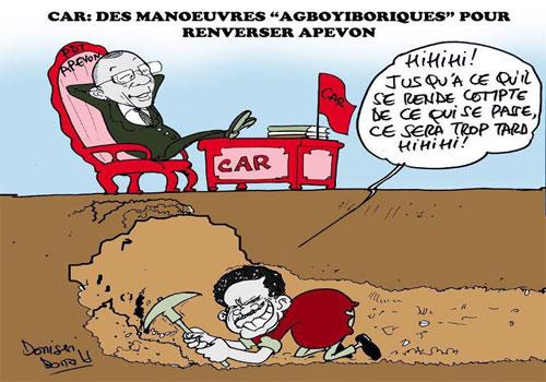 Le «Bélier maléfique noir » veut faire un putsch contre l'autre idiot de président du CAR, Dodji Apévon. Franchement, who gives a f*ck de ce qui se passe dans ce machin de parti anyway? | Caricature: Donisen Donald / Liberté