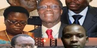 Quelques acteurs au centre de « Petrolegate » au Togo : Bernadette Legzim-Balouki (c,g), Pré Symfétcchéou (h,d), Ahoomey-Zunu (b,g), Barry Moussa Barqué (h,g) et son fils Yakini Barqué (b,d)   Infog : Fraternité