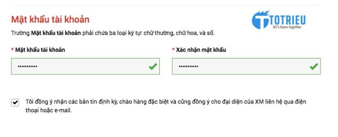 Nhập mật khẩu tài khoản giao dịch trên XM