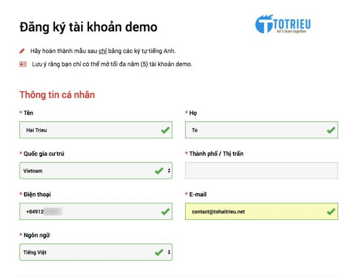 Thông tin cá nhân đăng ký tài khoản XM