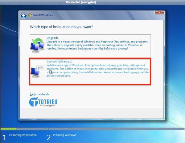 Chọn Custom (Advanced) để cài đặt VPS Windows trên Vultr