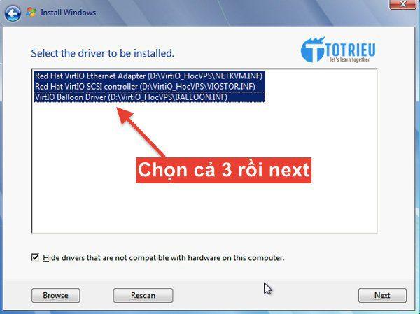 Chọn toàn bộ để tiếp tục cài đặt VPS Windows trên Vultr