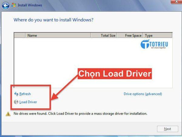 Chọn Load Driver để tiếp tục cài đặt VPS Windows