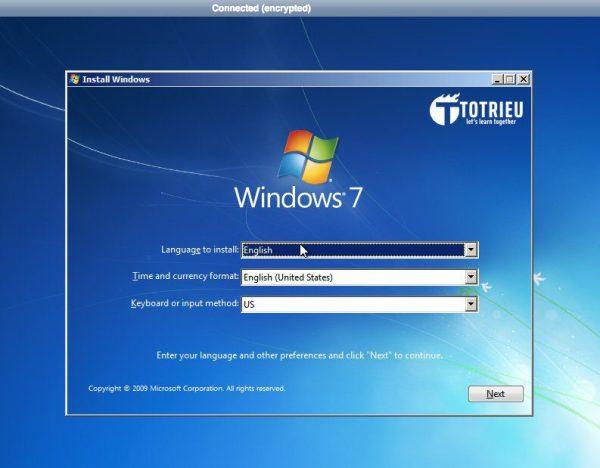 Màn hình cài đặt Windows 7 trên VPS Vultr