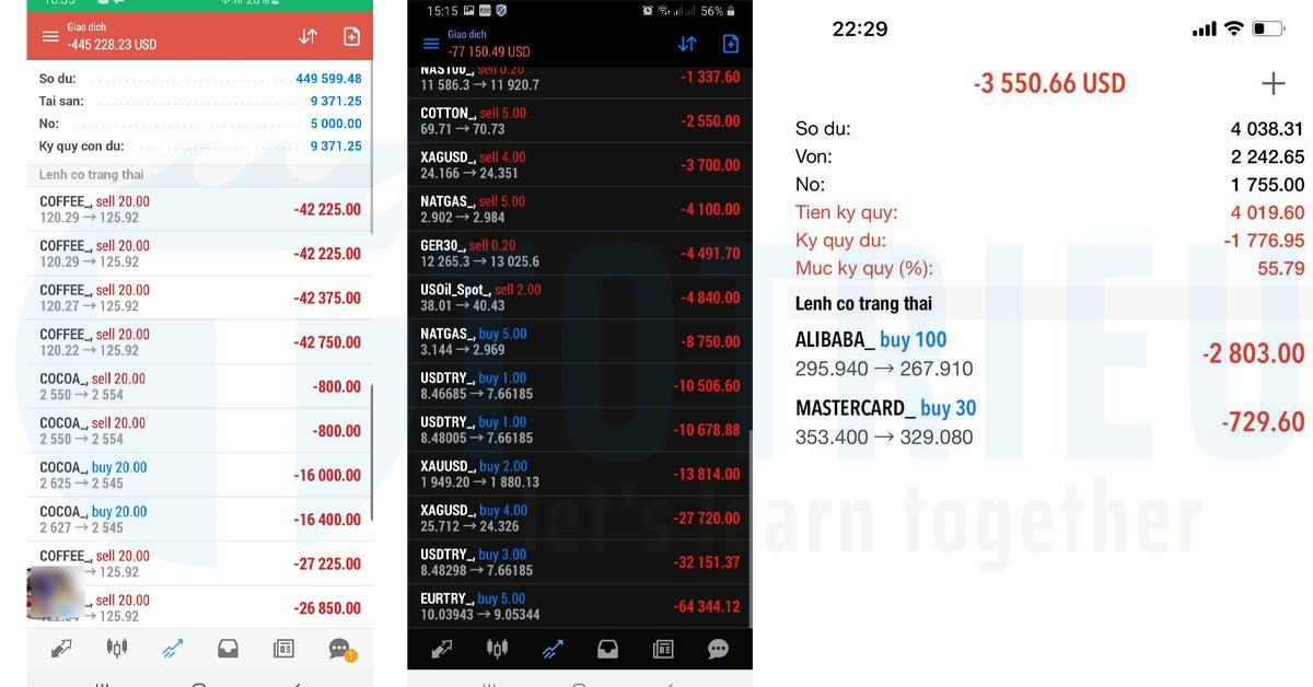 Các tài khoản bị lừa đầu tư Forex khớp lệnh khối lượng lớn