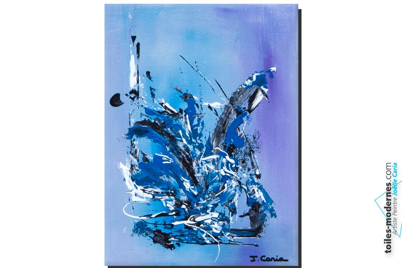 tableau abstrait bleu parme legerete moderne