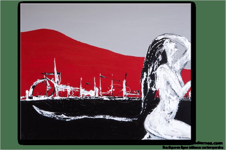 Tableau Moderne Rouge Noir Gris Grand Format Horizontal