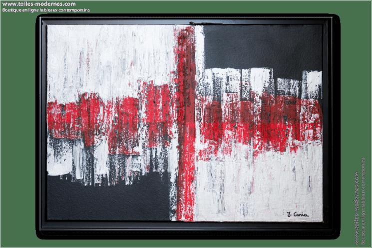 Tableau Moderne Rectangle Rouge Noir Gris Tableau Contemporain Horizontal Design