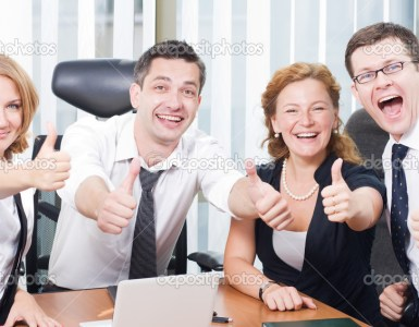 Happy office  workers stay outdoor