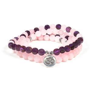 Mala quartz rose / améthyste élastique avec om