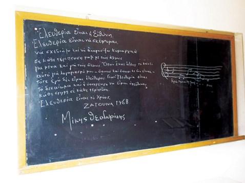 Ο μαυροπίνακας στον οποίο ο Έλληνας μουσικοσυνθέτης χάραξε με κιμωλία τα «Περί Ελευθερίας» και βρίσκεται στο μουσείο που φέρει το όνομα του Μίκη Θεοδωράκη